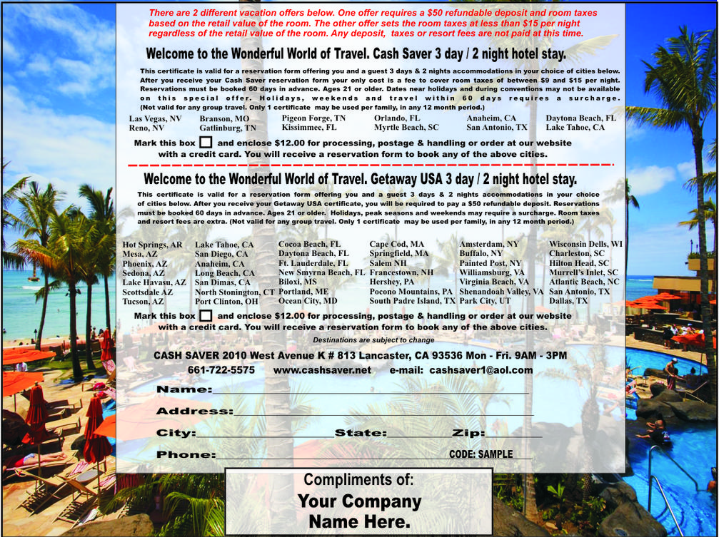 3 Day/2 Night Vacation Certificate Business Incentive